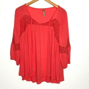 Entro Womens Coral 3/4 Sleeve Blouse